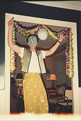 Peter Hooten in mask and party dress, New York, c. 1988