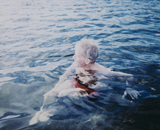 James Merrill swimming in Lakeville CT, 1994