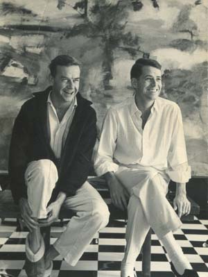 """JM and DJ in front of """"Water Mill Landscape"""" by Larry Rivers, 1959."""