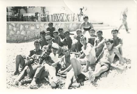 JM and DJ at the beach with Greek friends, c. 1959.