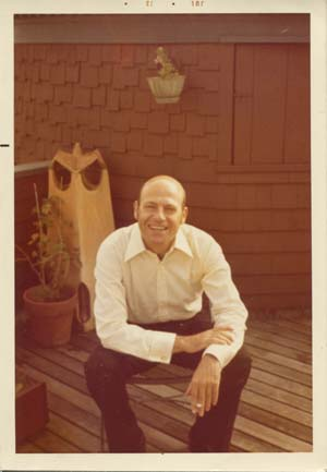 Richard Howard on the deck at 107 Water Street, 1973.