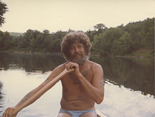 Peter Tourville in canoe on the Connecticut River, 1983
